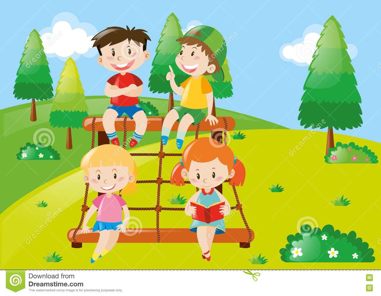 Four Kids Playing At Climbing Station Stock Vector Illustration Of