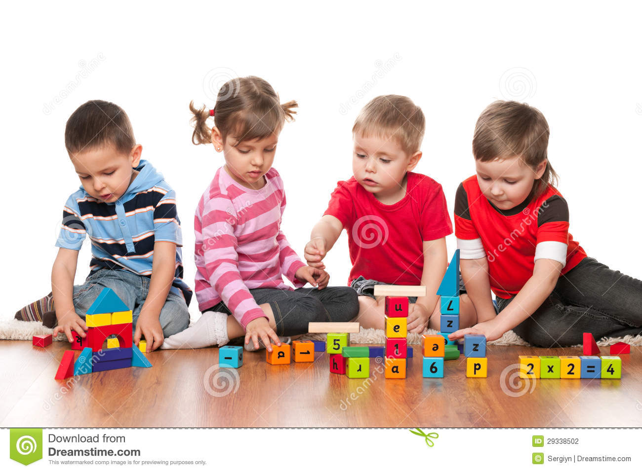 four kids are playing on the floor stock photo image 29338502. Black Bedroom Furniture Sets. Home Design Ideas