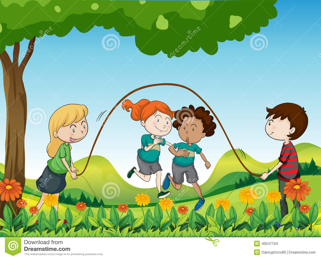 four kids playing under tree illustration 40547104