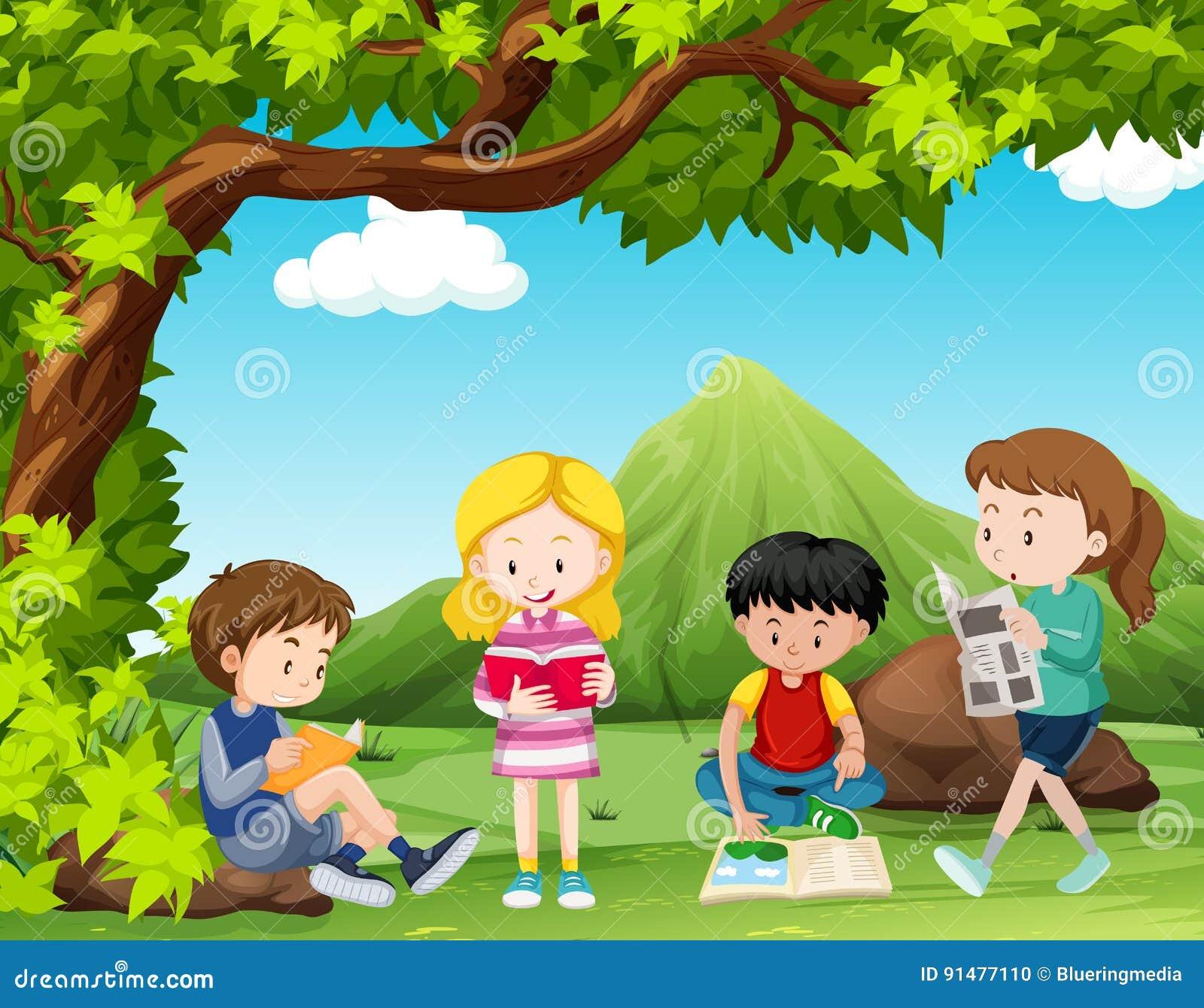 four kids reading books under the tree stock illustration