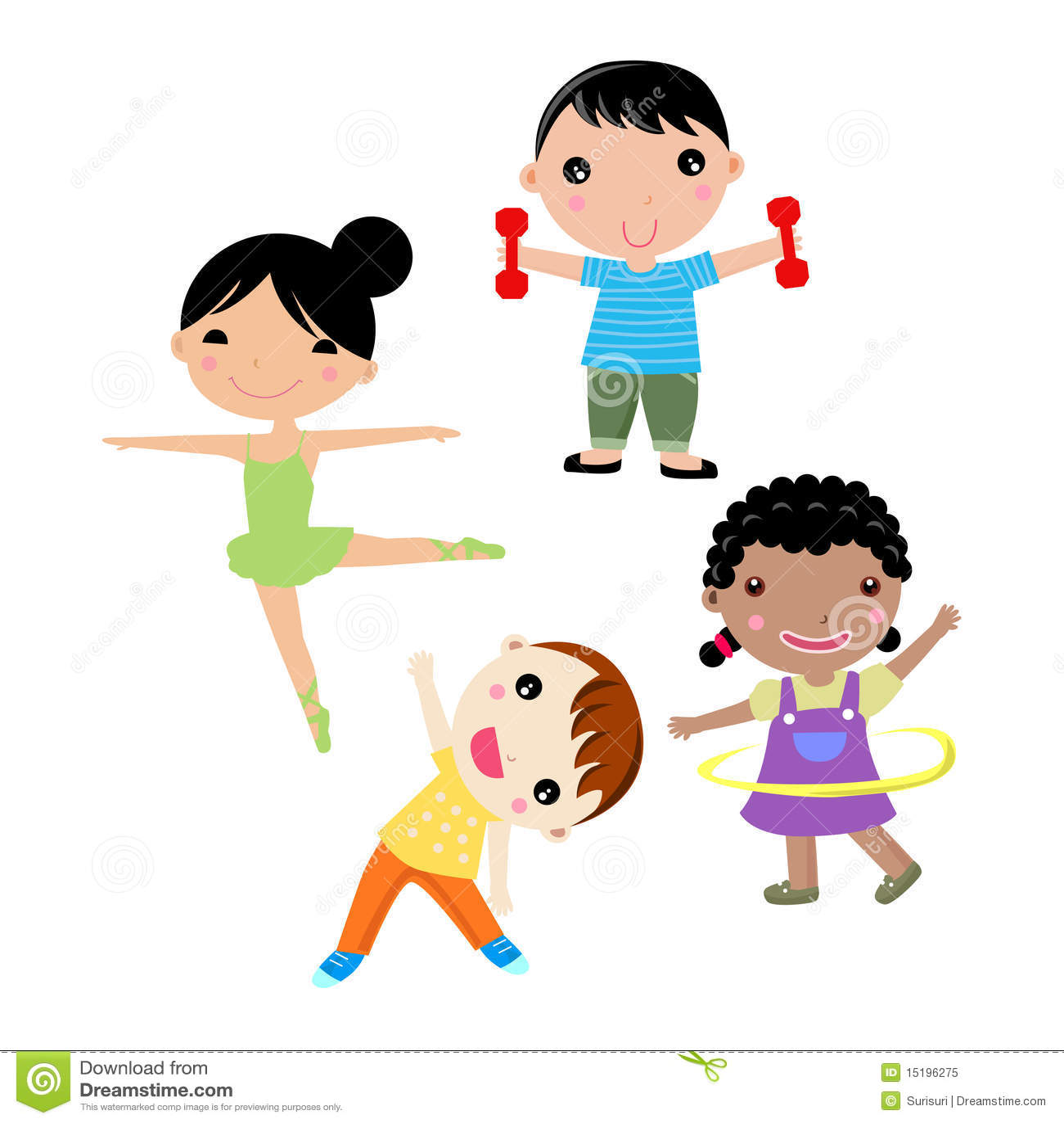 Four kids sport stock vector. Illustration of hula, sketch ...