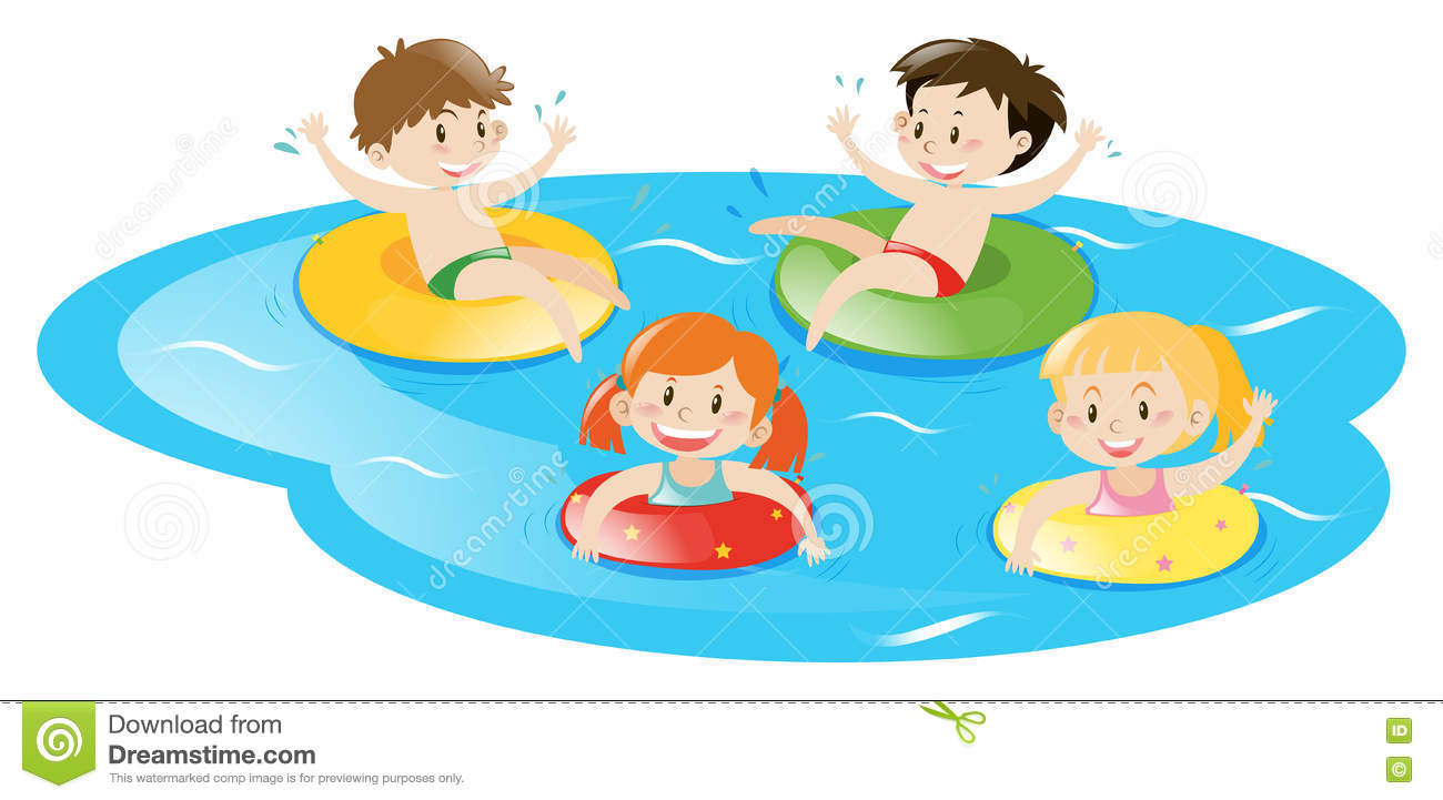 Four kids swimming in pool stock vector illustration of - Swimming swimming in my swimming pool lyrics ...