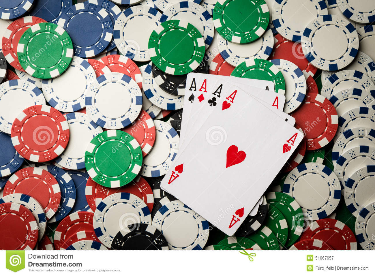 Four of a kind poker hand Aces and chips