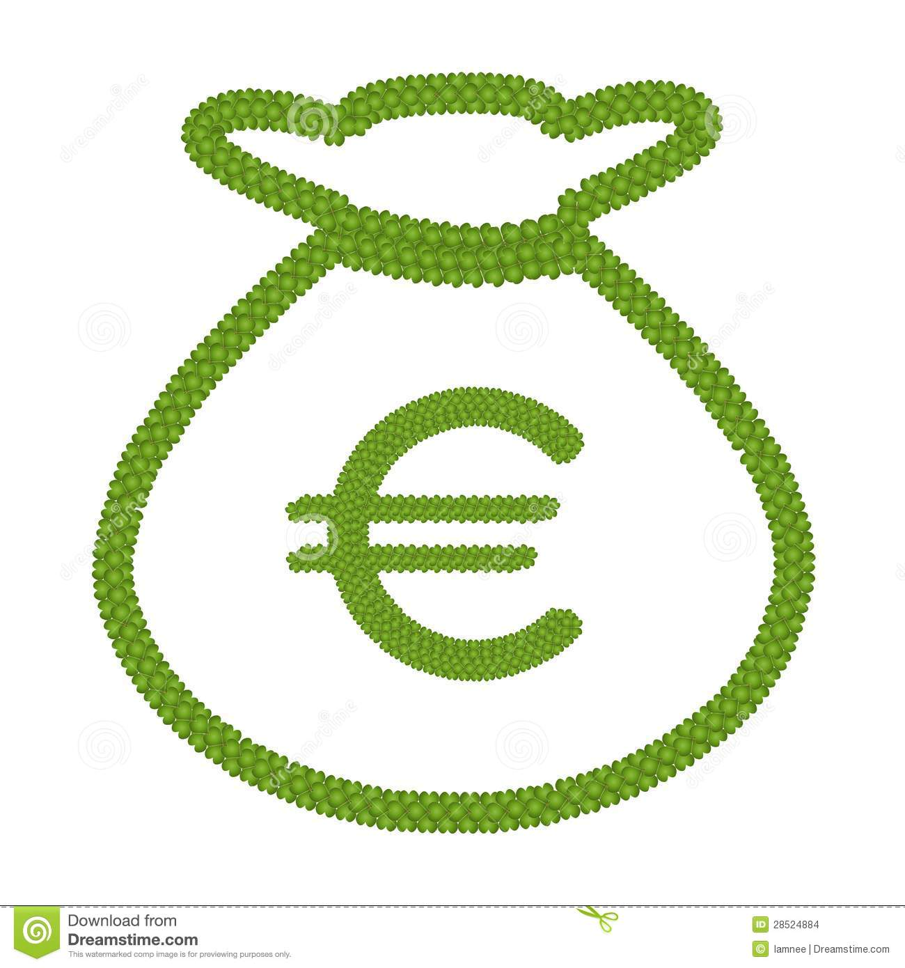 Four Leaf Clover Of Euro Sign In Money Bag Icon Stock Images - Image ...