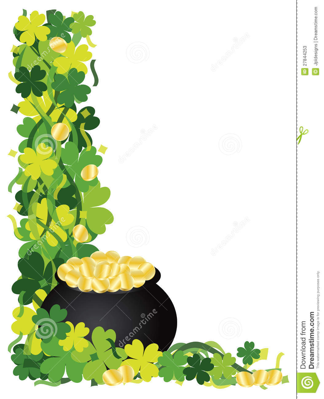 Four Leaf Clover Pot Of Gold Border Illustration Stock Photos - Image ...