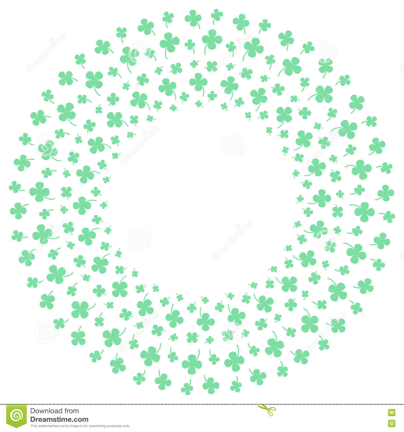four leaf clovers icon lucky sign pattern circle shape stock