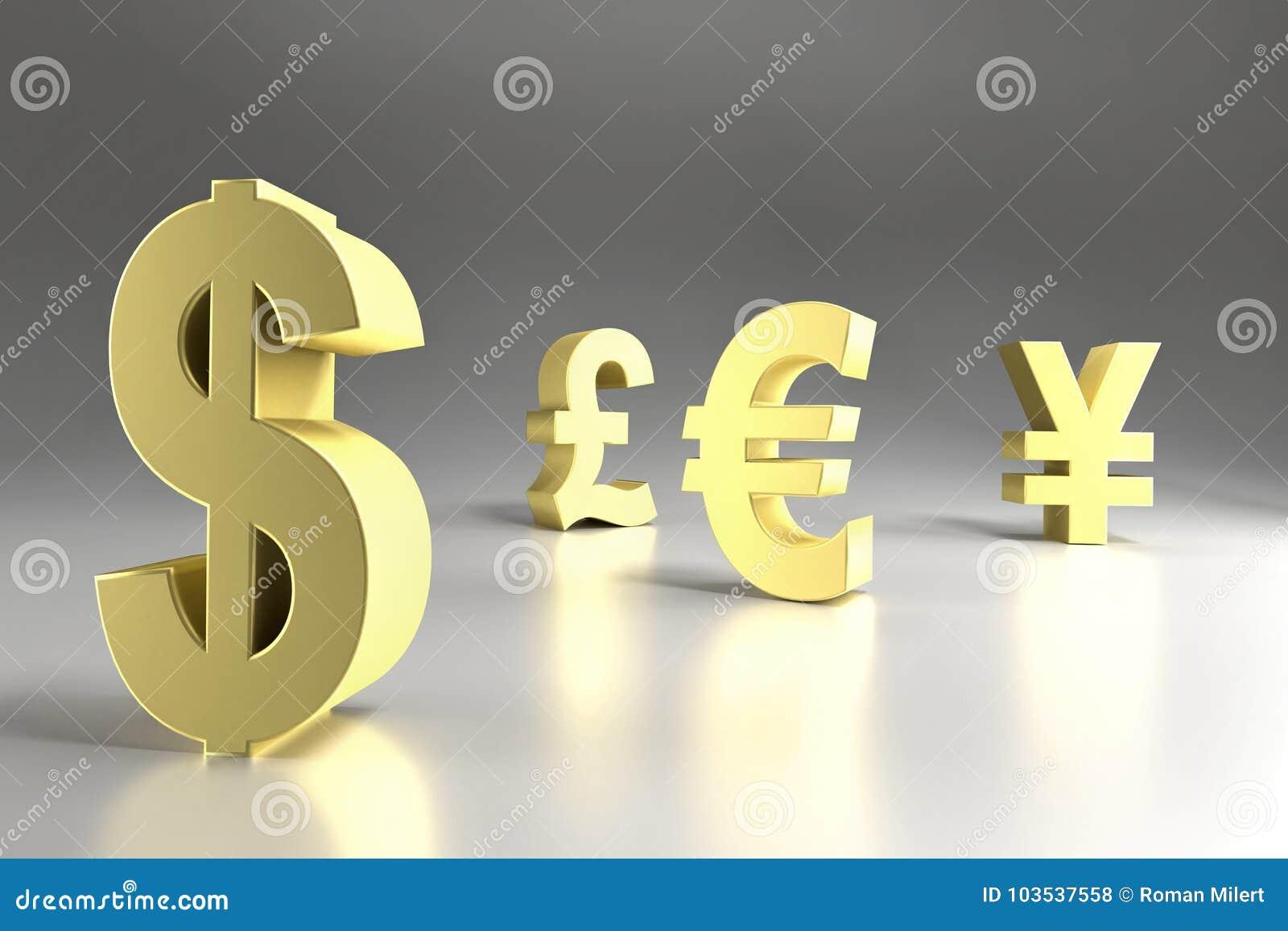 Four Major Currency Symbols Stock Illustration Illustration Of