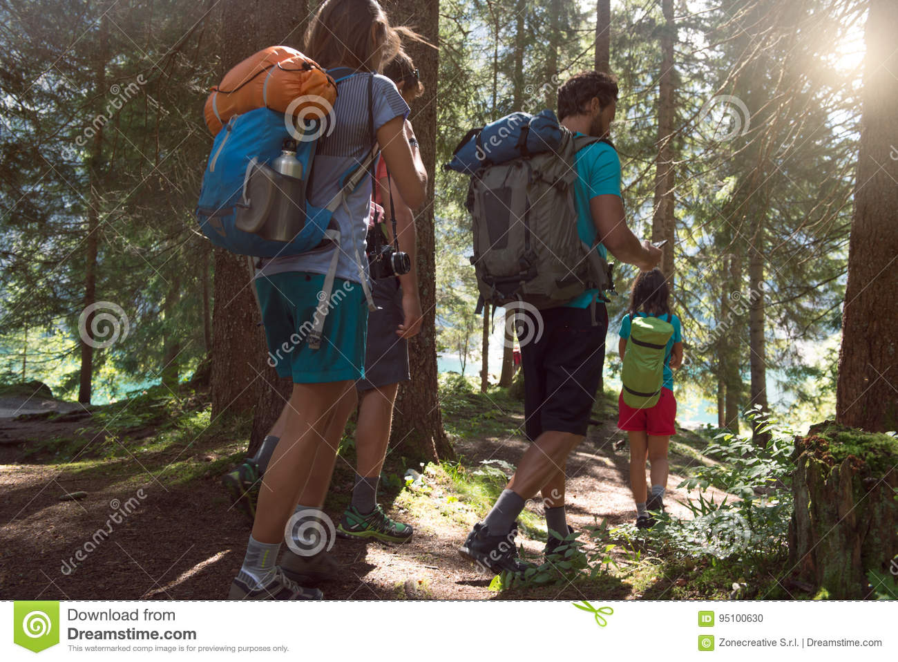 Four man and woman walking along hiking trail path in forest woods during sunny day. Group of friends people summer