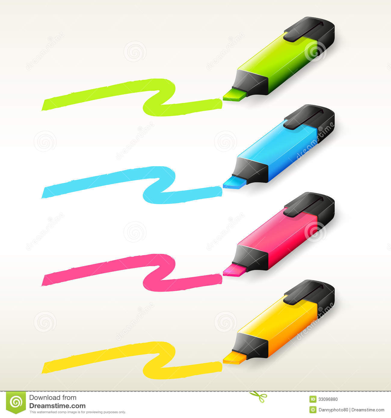 Four markers in different colors