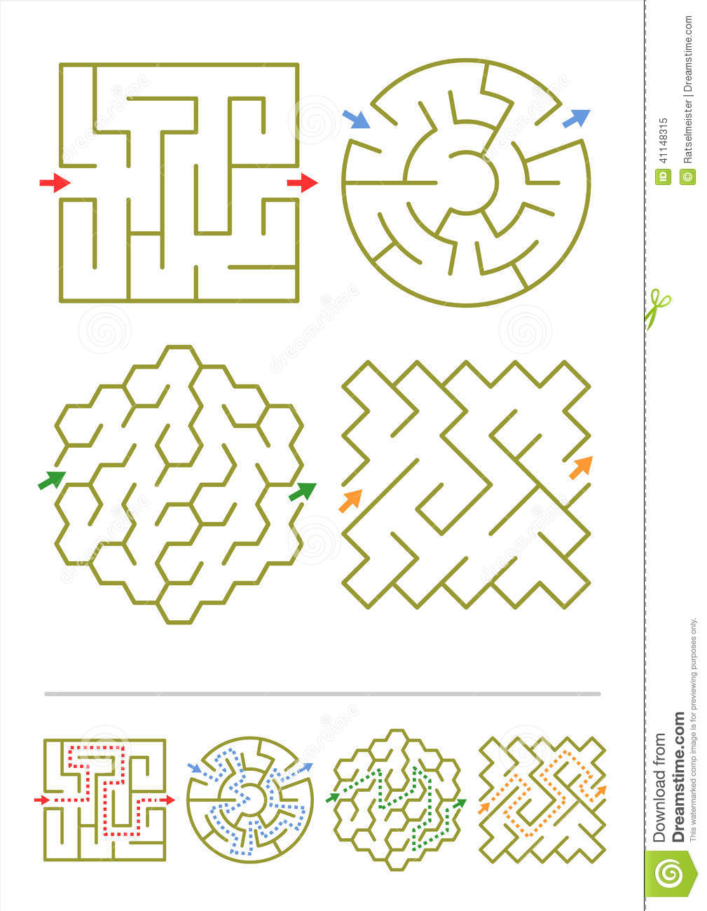 Four Maze Games With Answers Stock Vector - Image: 41148315