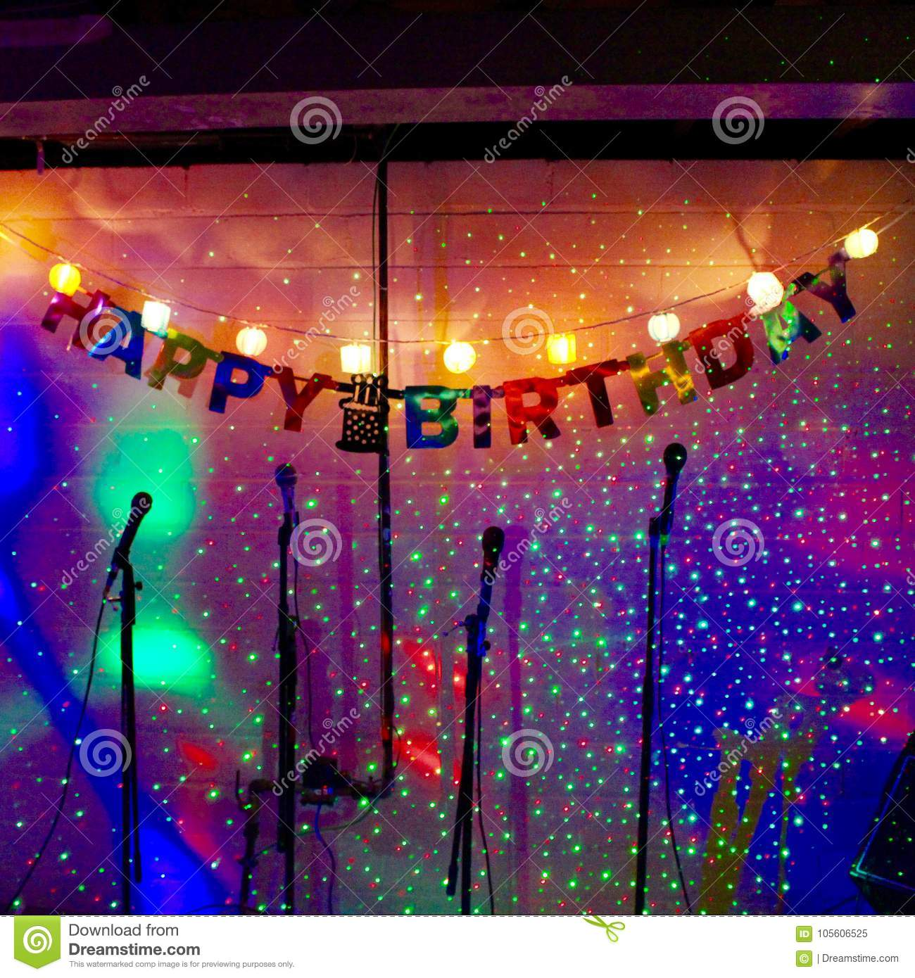 Happy Birthday Song On Sparkles Stock Image - Image of photo, mikes