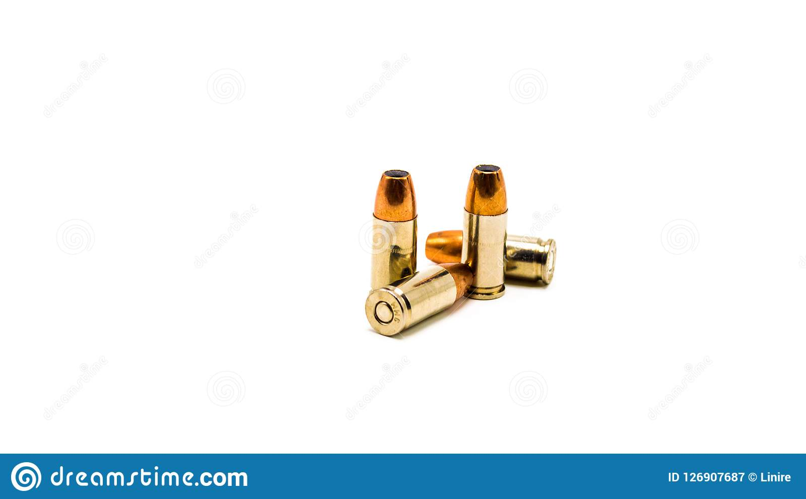 four 9 millimeter bullets isolated on white stock image image of