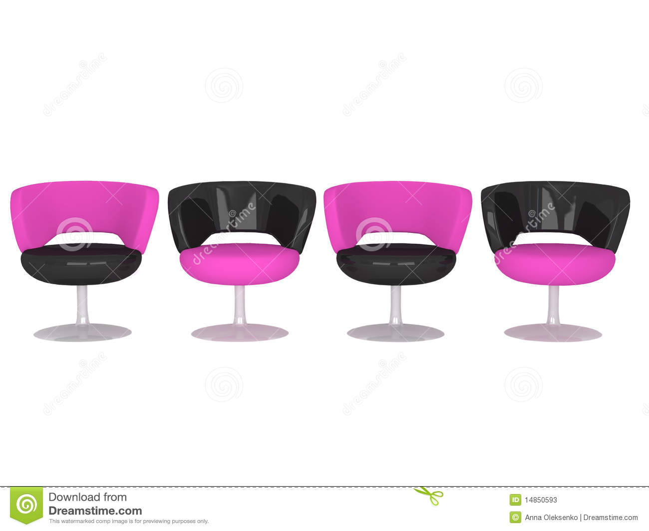 Four modern armchairs, isolated