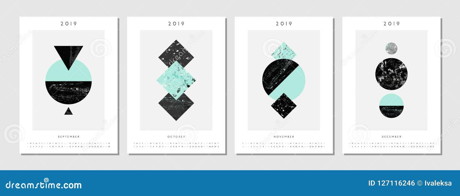 2019 Four Month Printable Calendar Template Stock Vector