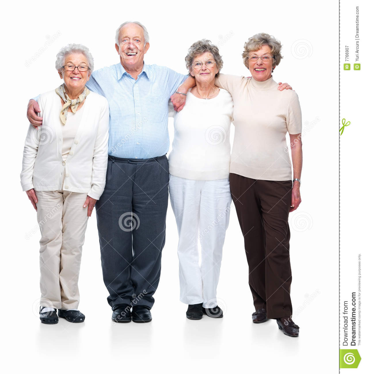 Four Old People Standing Together On White Stock Image