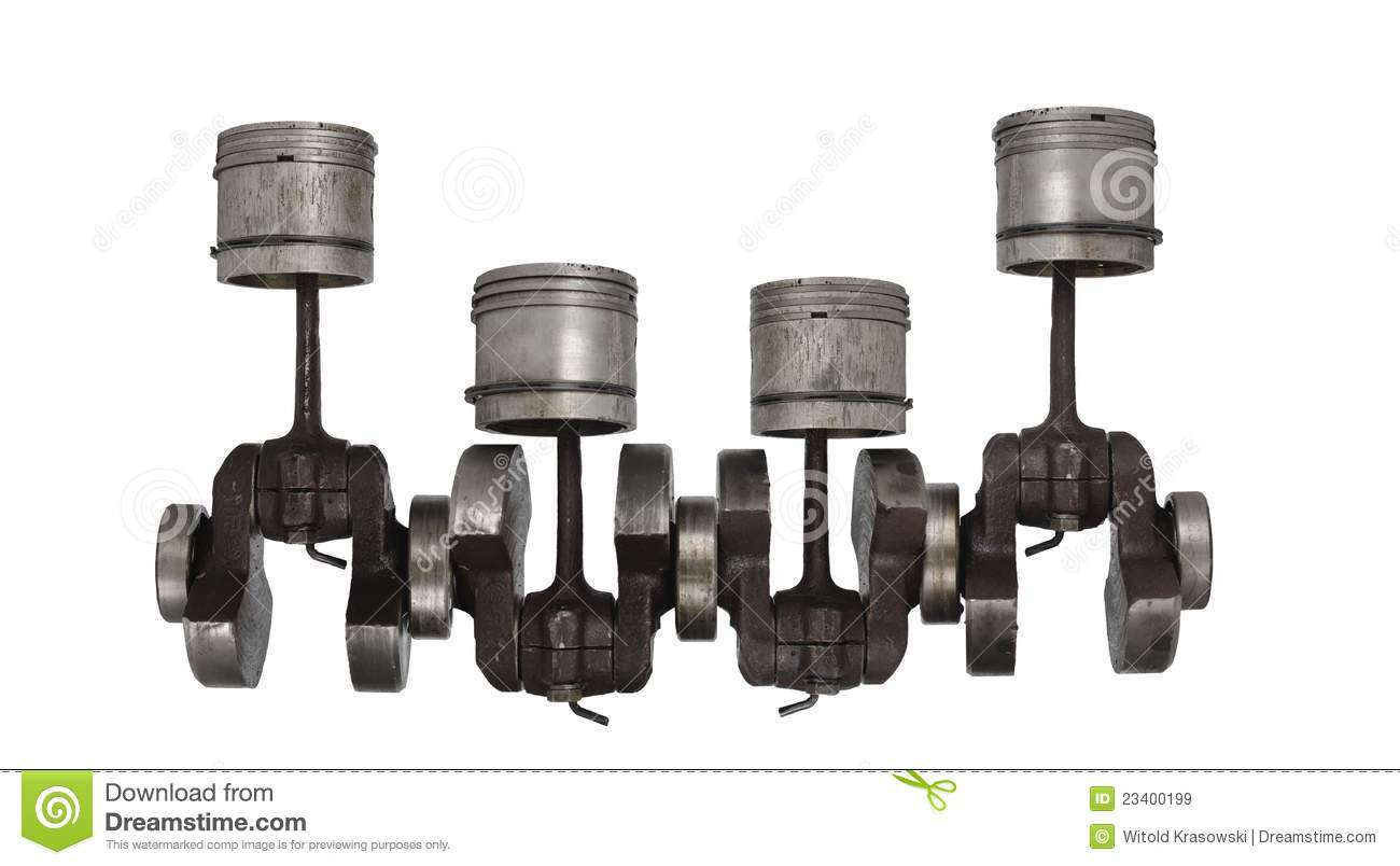 Four Old Piston And Connecting Rod Royalty Free Stock