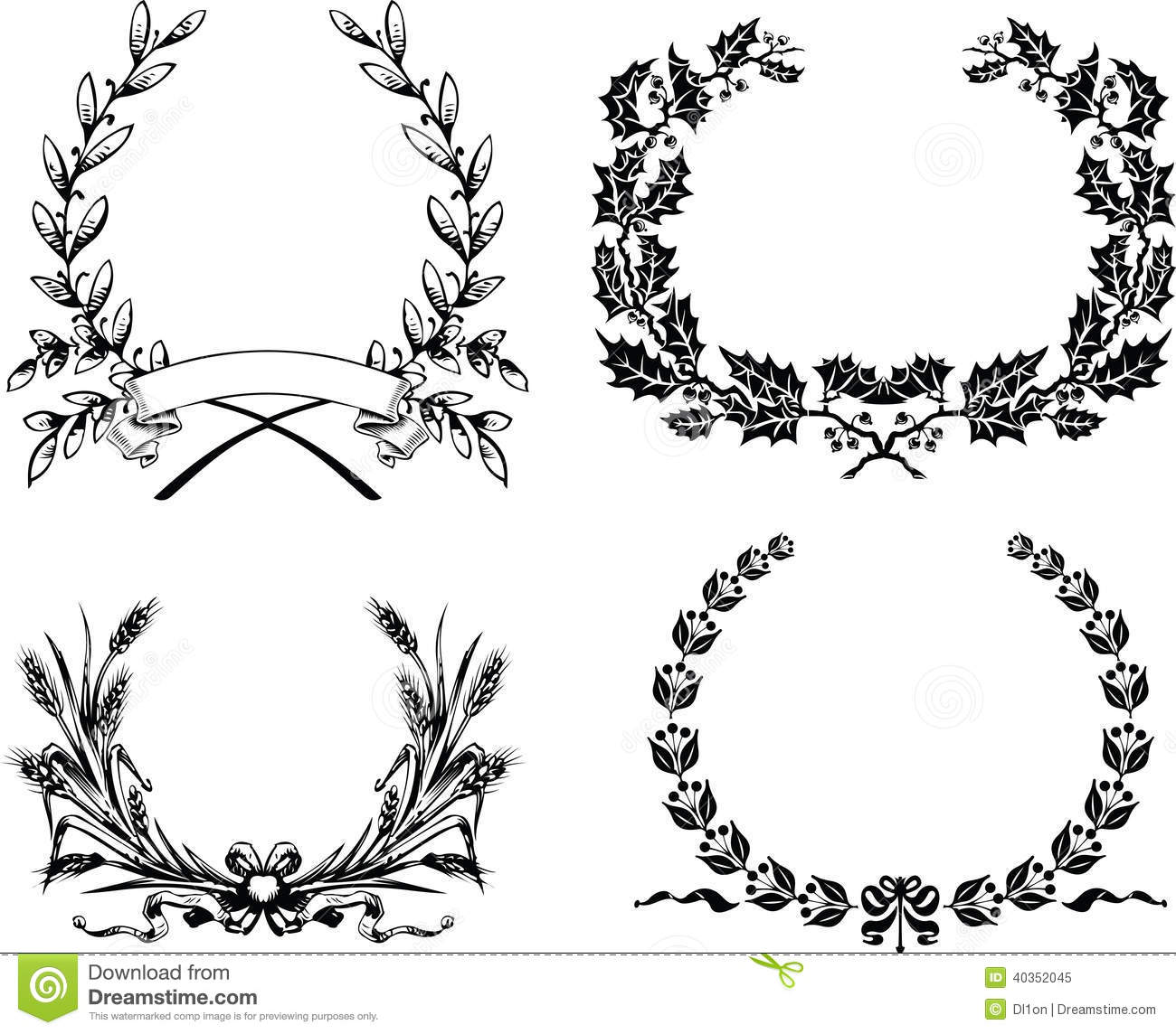 Four One Color Original Heraldic Wreath Stock Vector