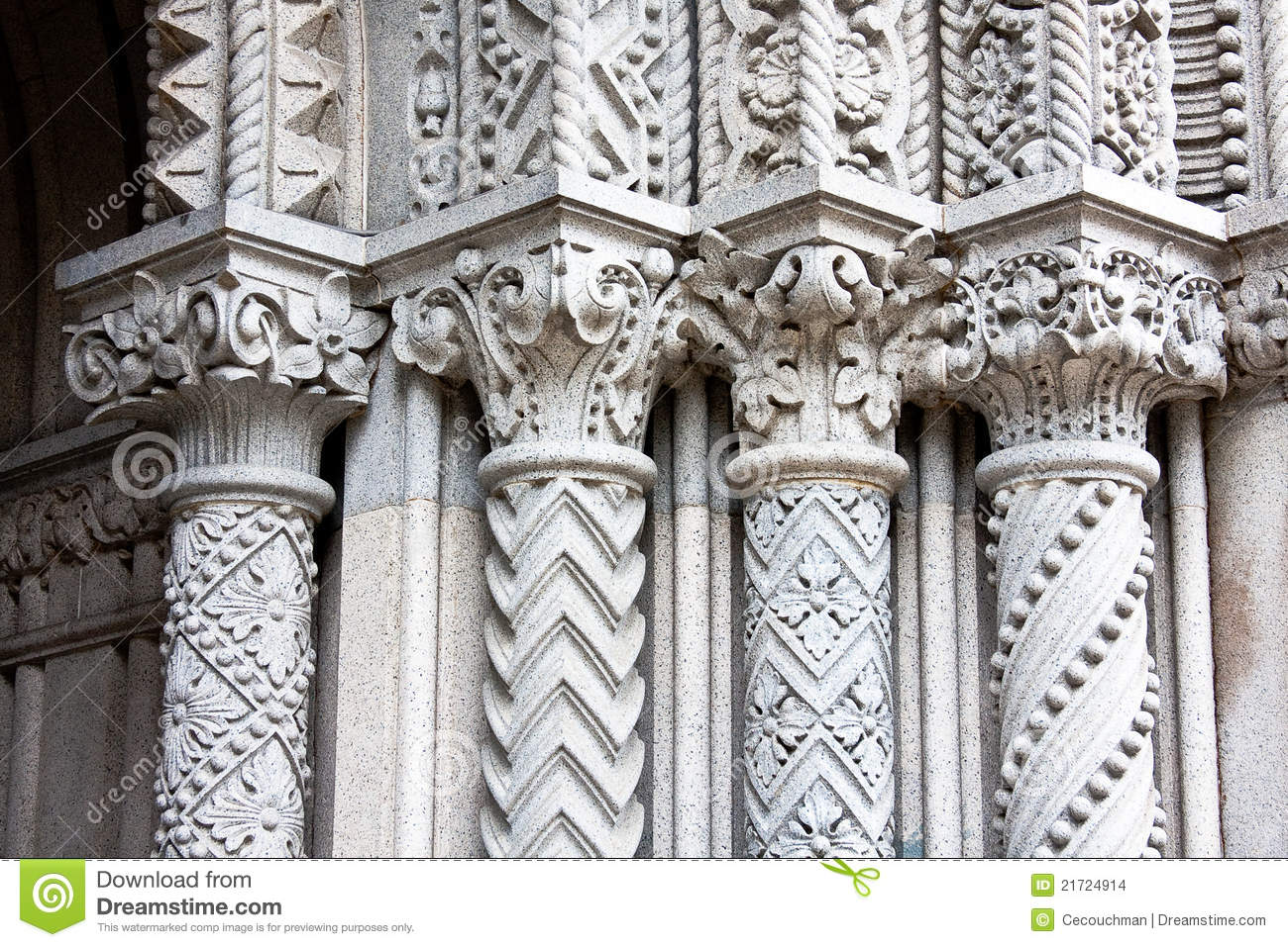 Four Ornate Columns Stock Photo Image Of Building