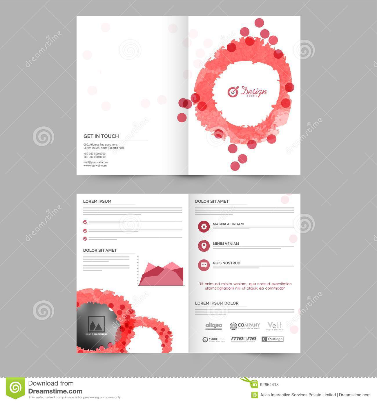 Four Pages Brochure For Business Stock Illustration Illustration