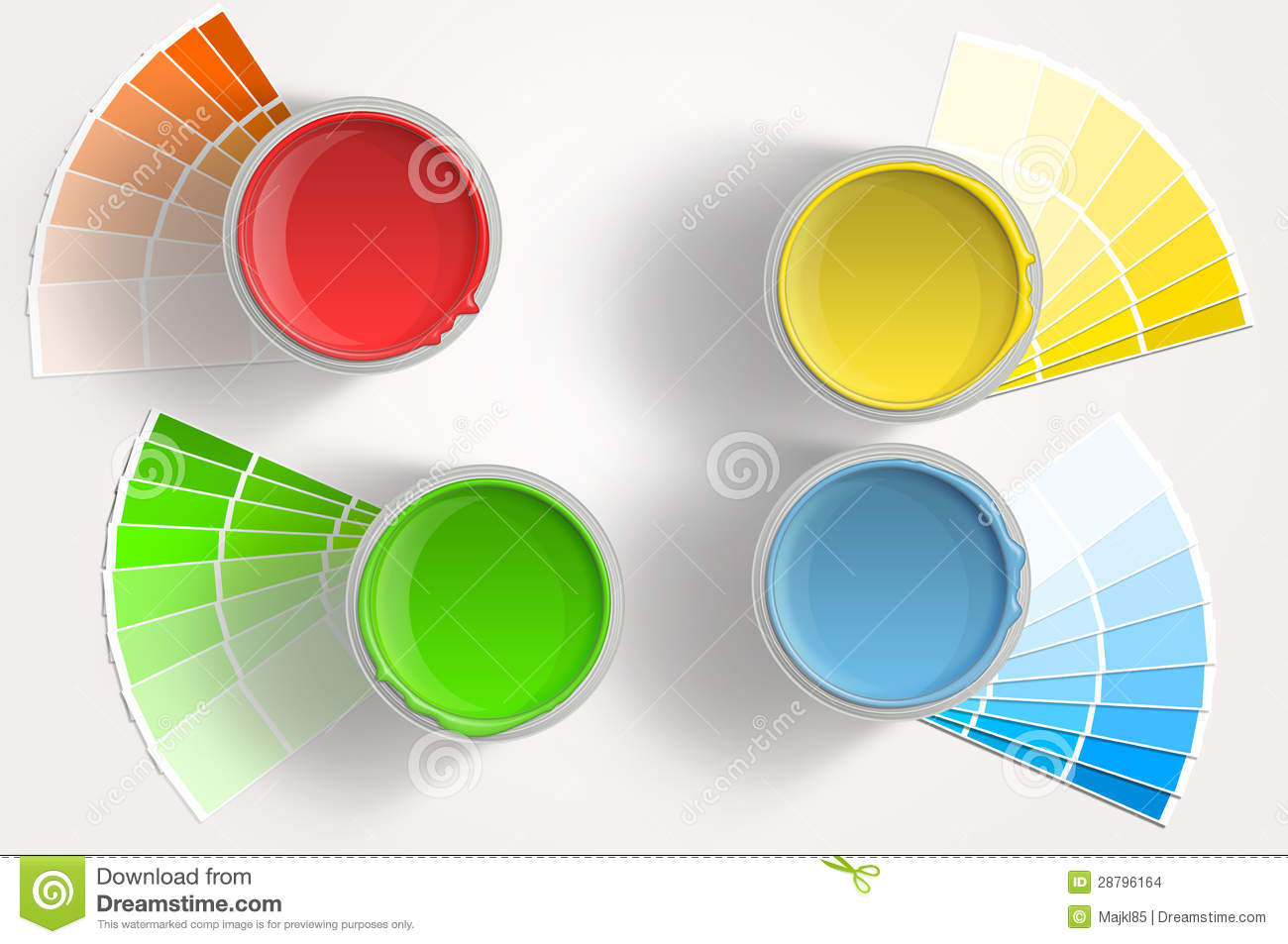 paint cans, red, yellow, green royalty free stock photo - image