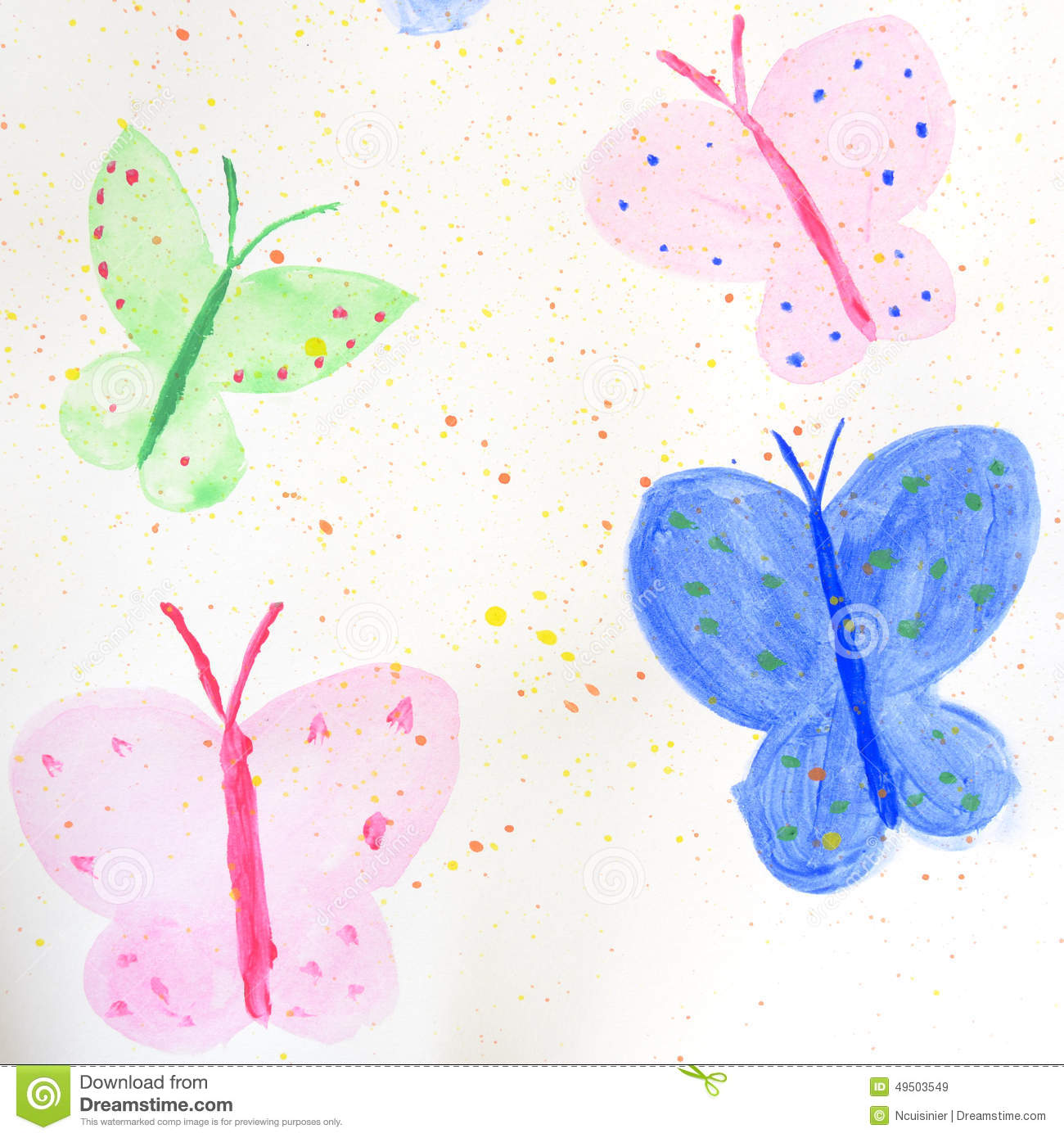 Four painted colorful butterflies stock illustration for White paper butterflies