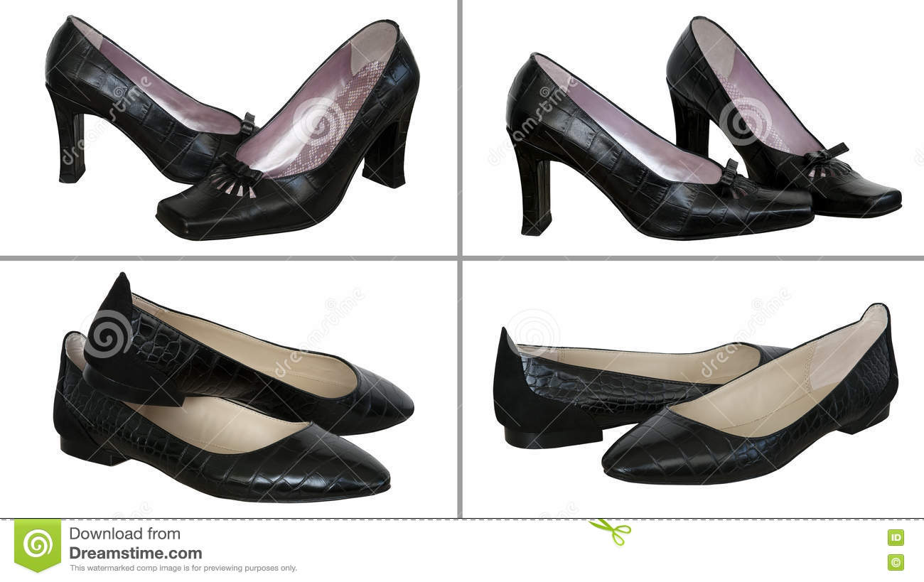 a99b1fb5b4 Four pair black woman shoes isolated on a white background