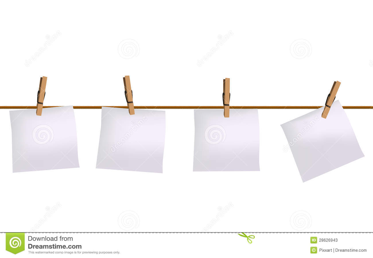 four paper notes hanging on rope stock vector
