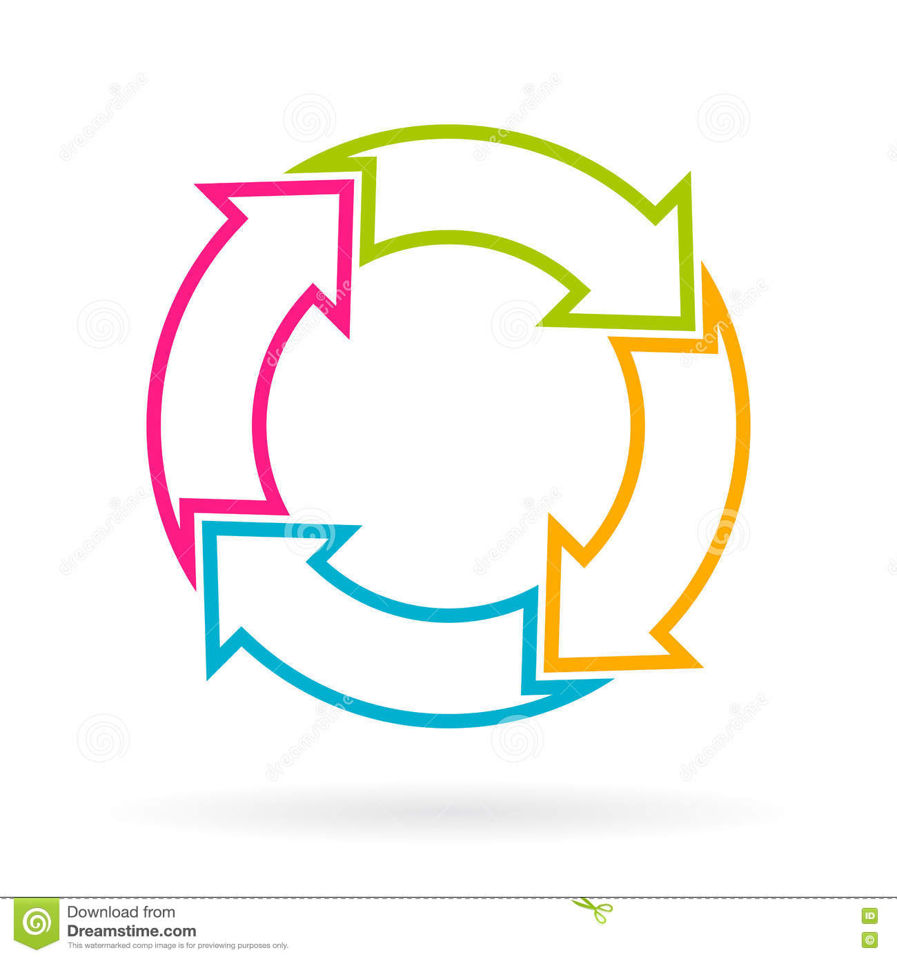 Stock Illustration Four Part Cycle Arrows Chart Vector Image77586324 on Color Life Cycle 5