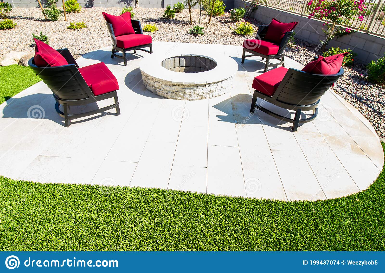 Four Patio Chairs With Cushions Surrounding Rear Patio Round Fire Pit Stock Photo Image Of Flowers Circular 199437074