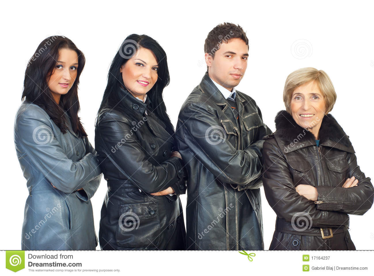 four wearing leather jackets different hats hard colors models uniforms background crossed alamy royalty young preview semi standing hands profile