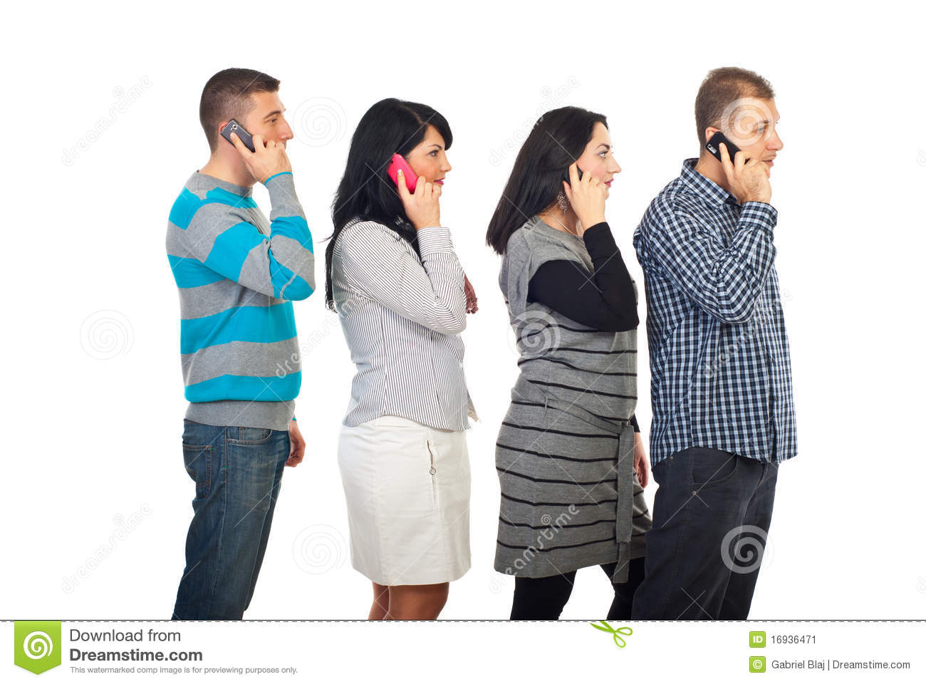 Four People In A Line Talking By Cellphones Stock Image ...