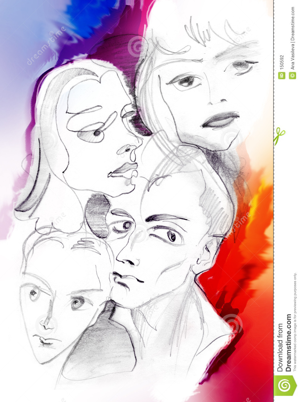 Four people s faces - colored sketch