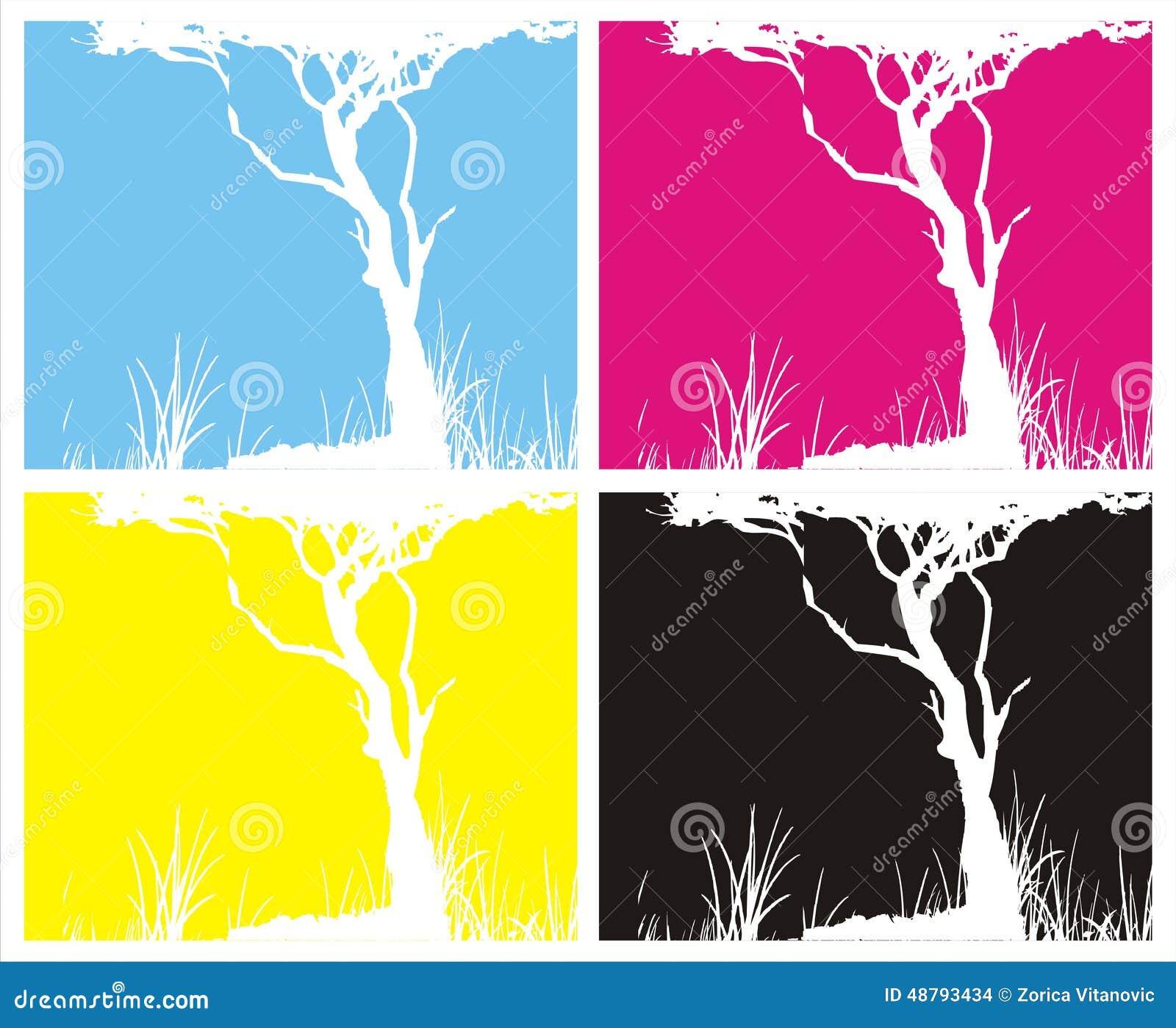 Four pictures CMYK colours