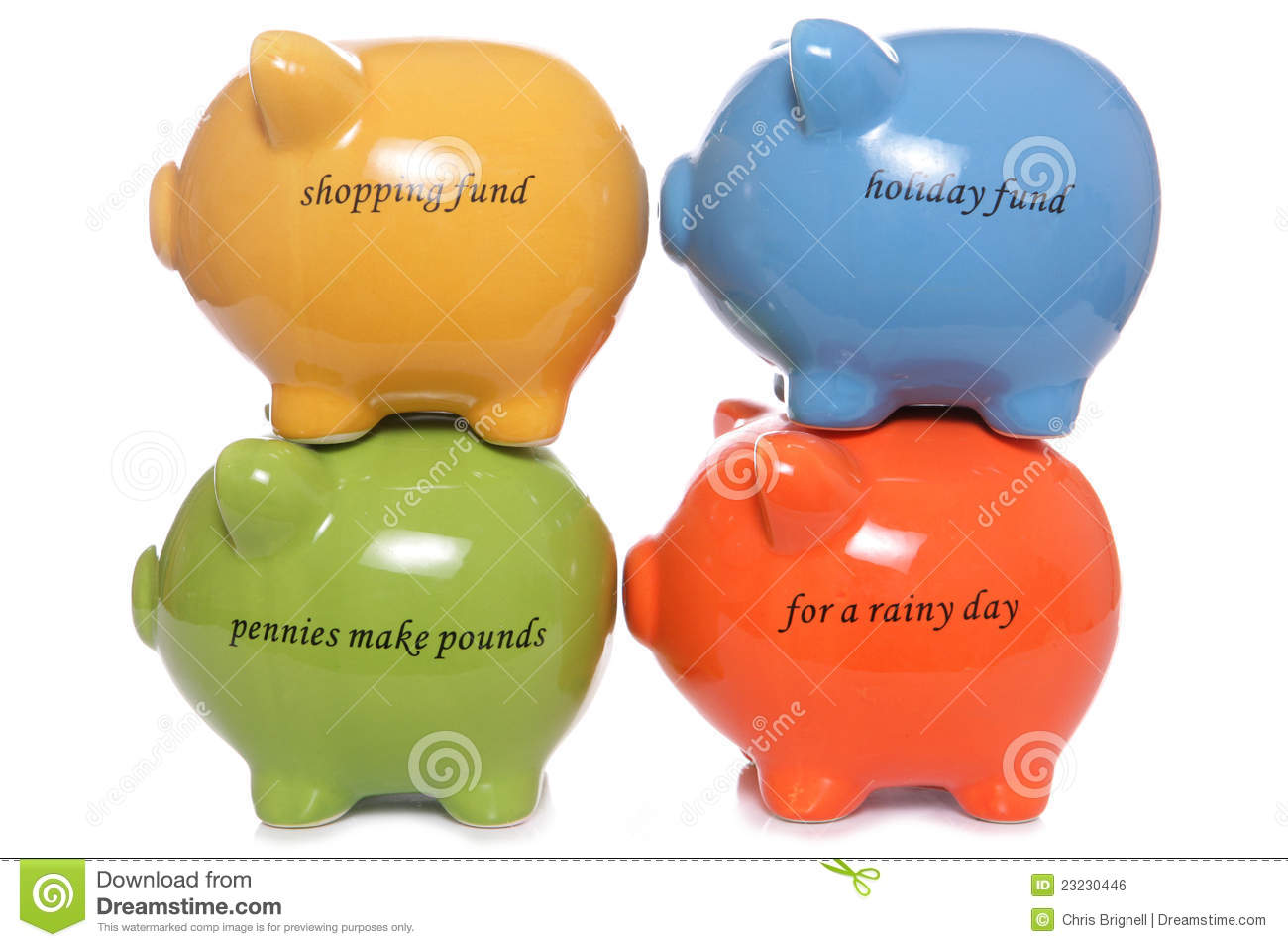 four piggy banks stacked royalty free stock image
