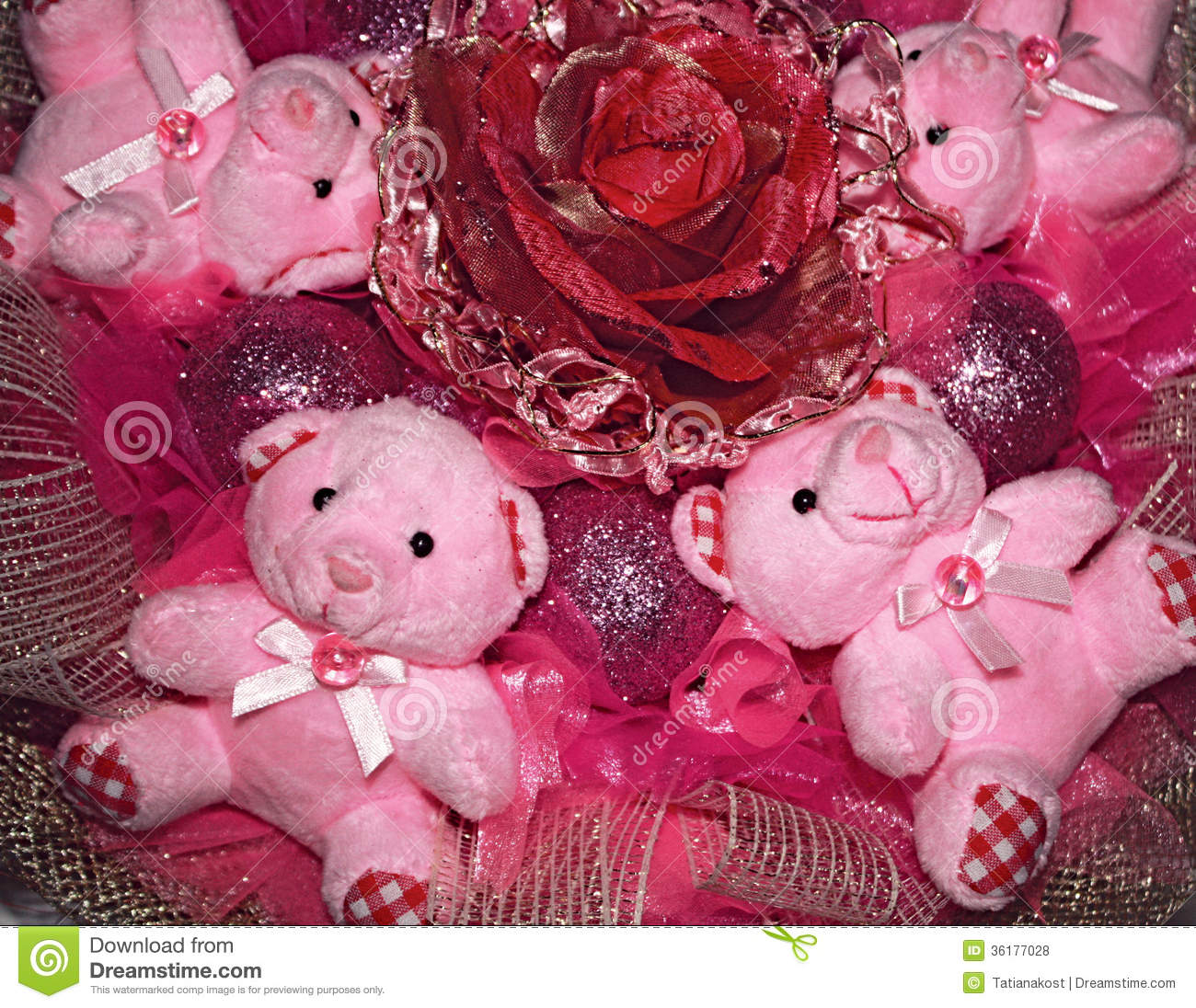 Four pink teddy bears and artificial flowerristmas compositio four pink teddy bears and artificial flowerristmas compositio altavistaventures Image collections