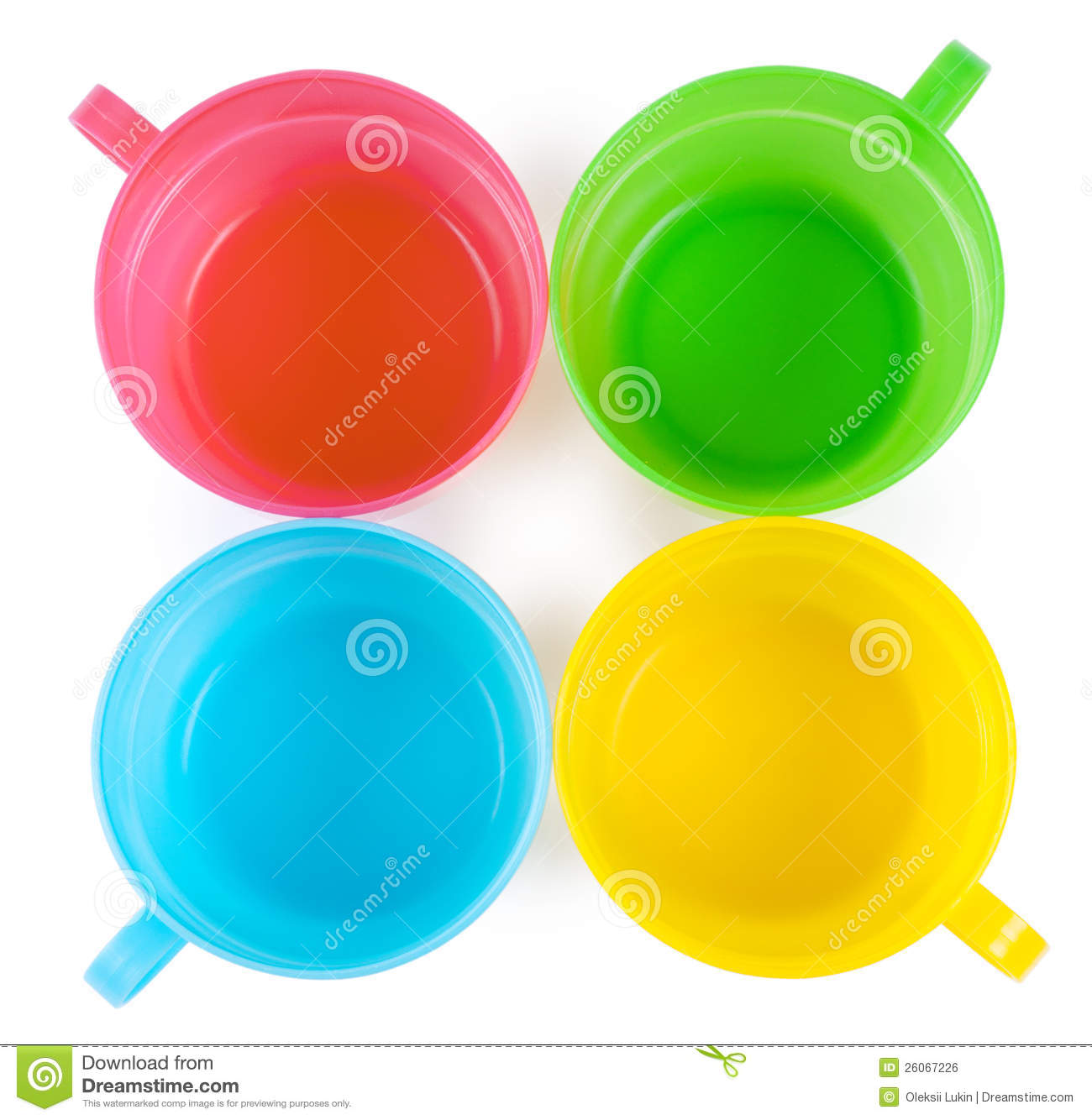 Four Plastic Cups With Handles Royalty Free Stock Image