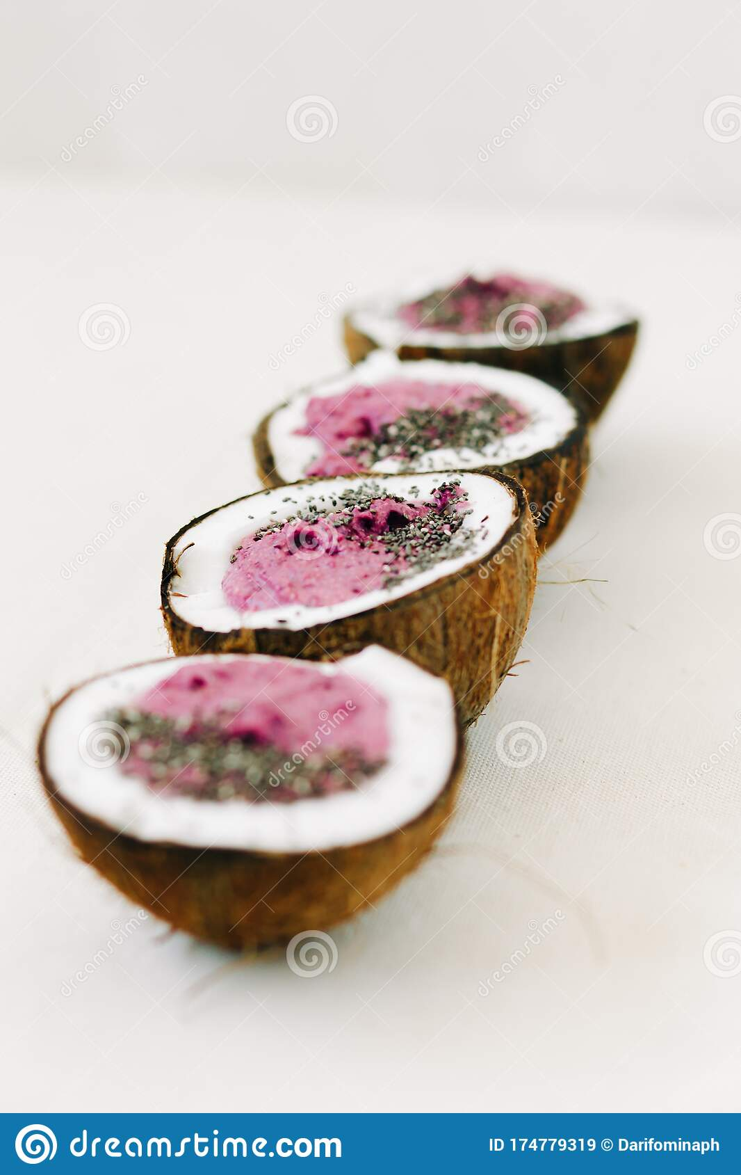 Four Plates Of Natural Coconut Shell With A Healthy Breakfast Green Buckwheat Smoothie With Berries And Chia Seeds Stock Image Image Of Healthy Ingredient 174779319