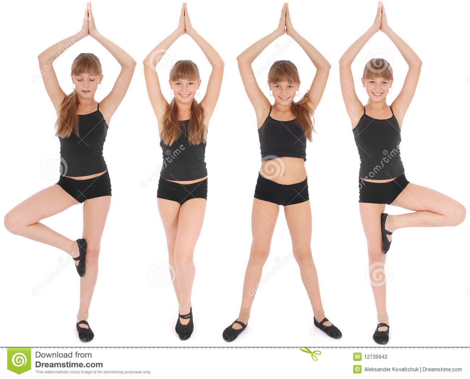 Four Poses. Young Girl Making Yoga Exercises Stock Photo - Image