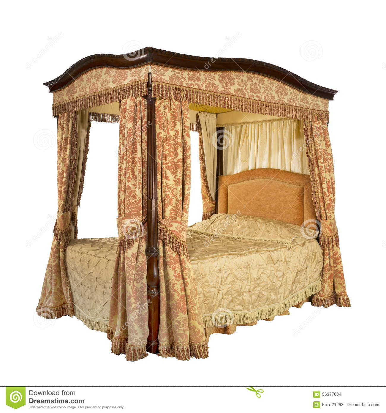 Four Poster Bed With Isolated With Clip Path Stock Photo