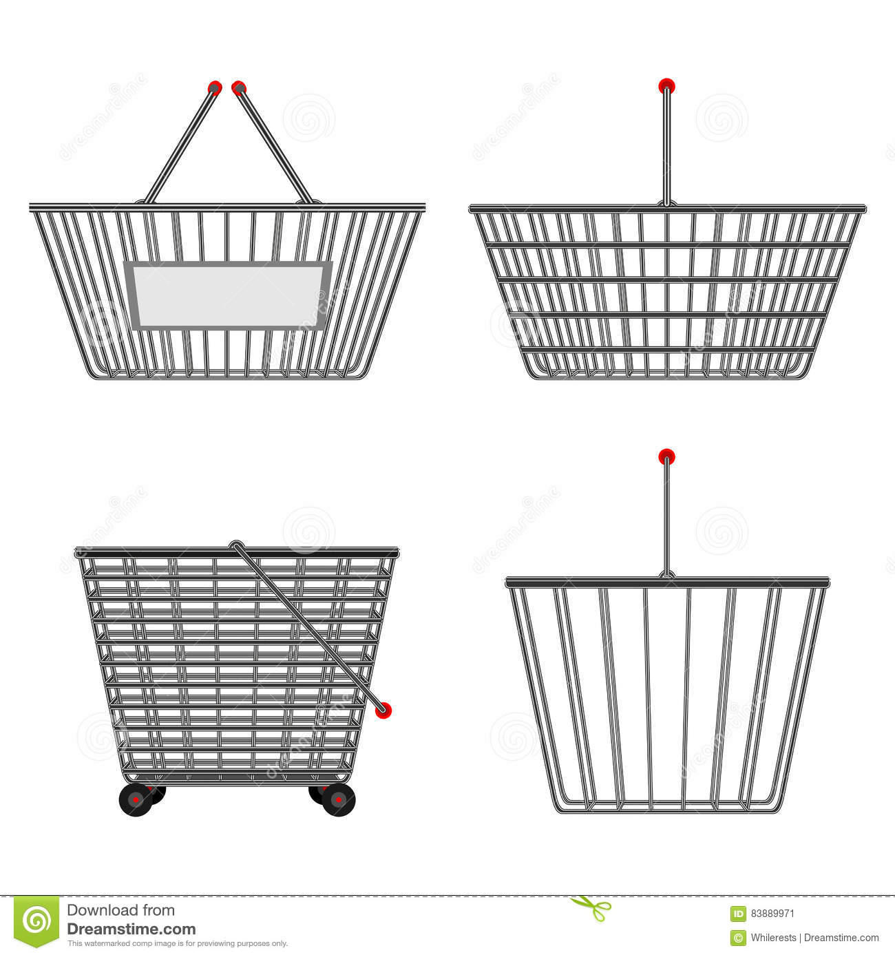 Four Realistic Metallic Chrome Wire Empty Baskets Of Different Wiring Diagram Shapes Illustration
