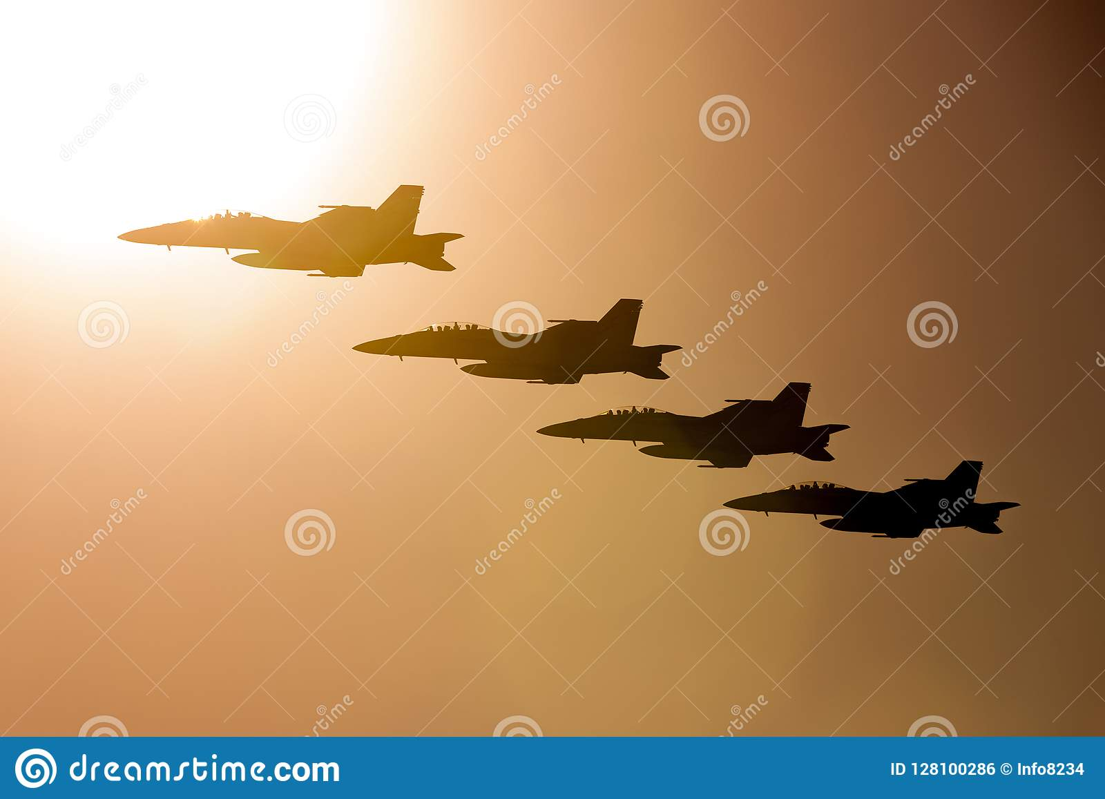 Four Royal Australian Air Force RAAF Boeing F/A-18F Super