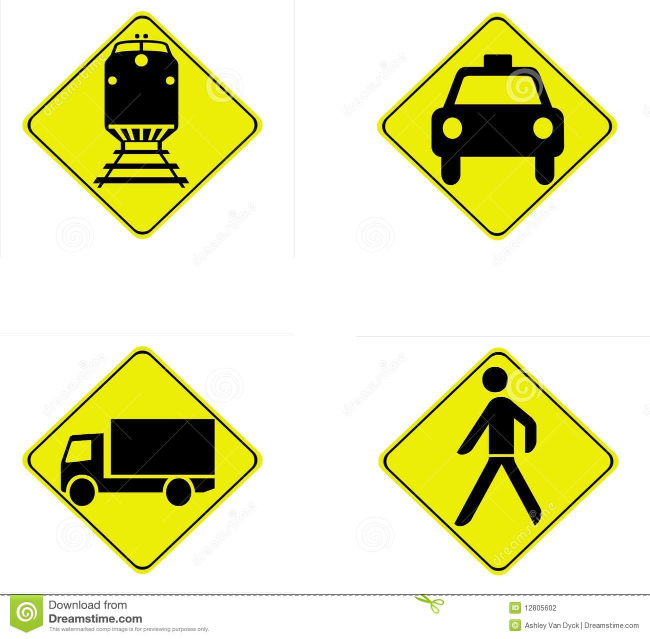 A set of four yellow and black road safety signs