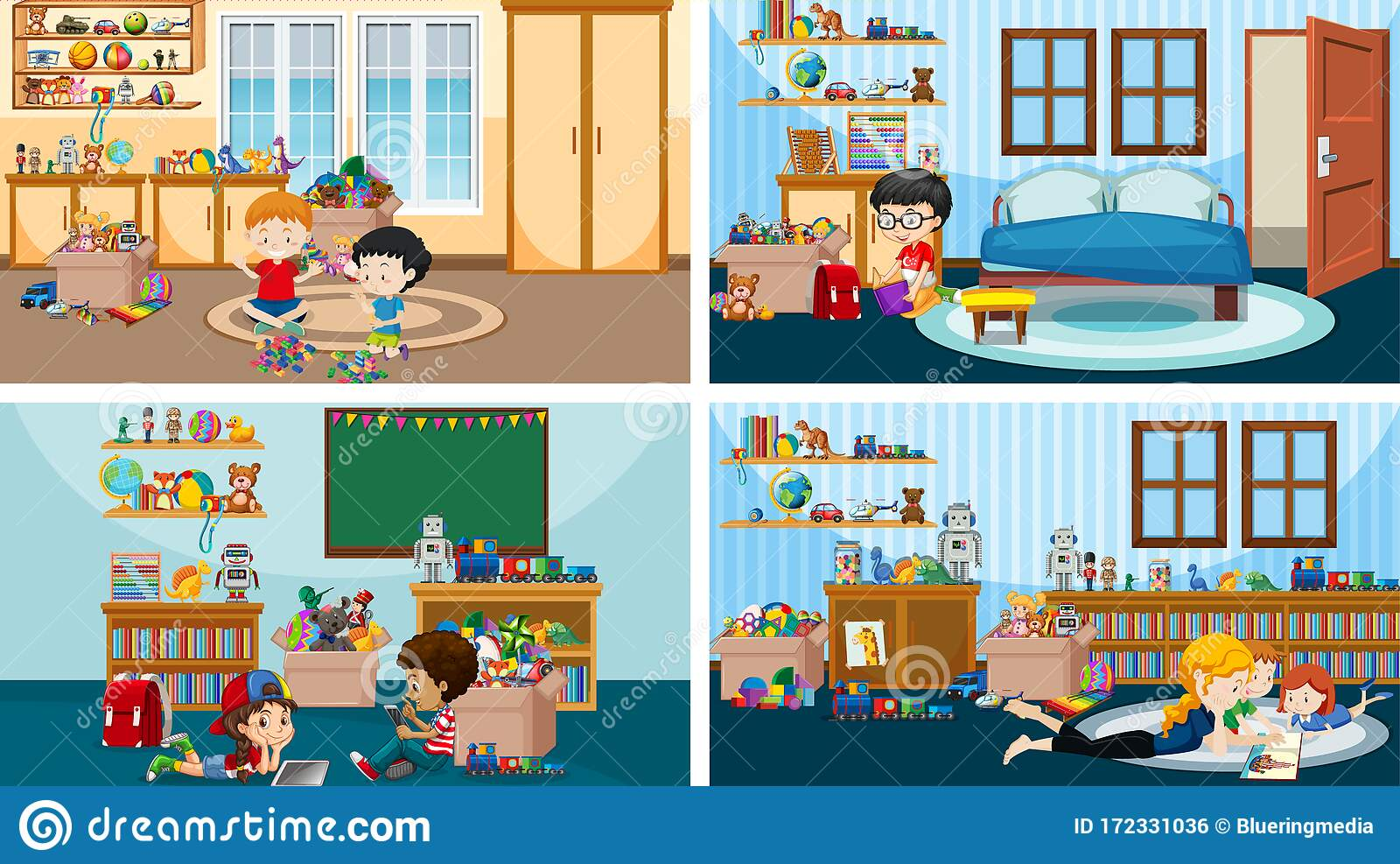 four scenes with kids playing and reading in different