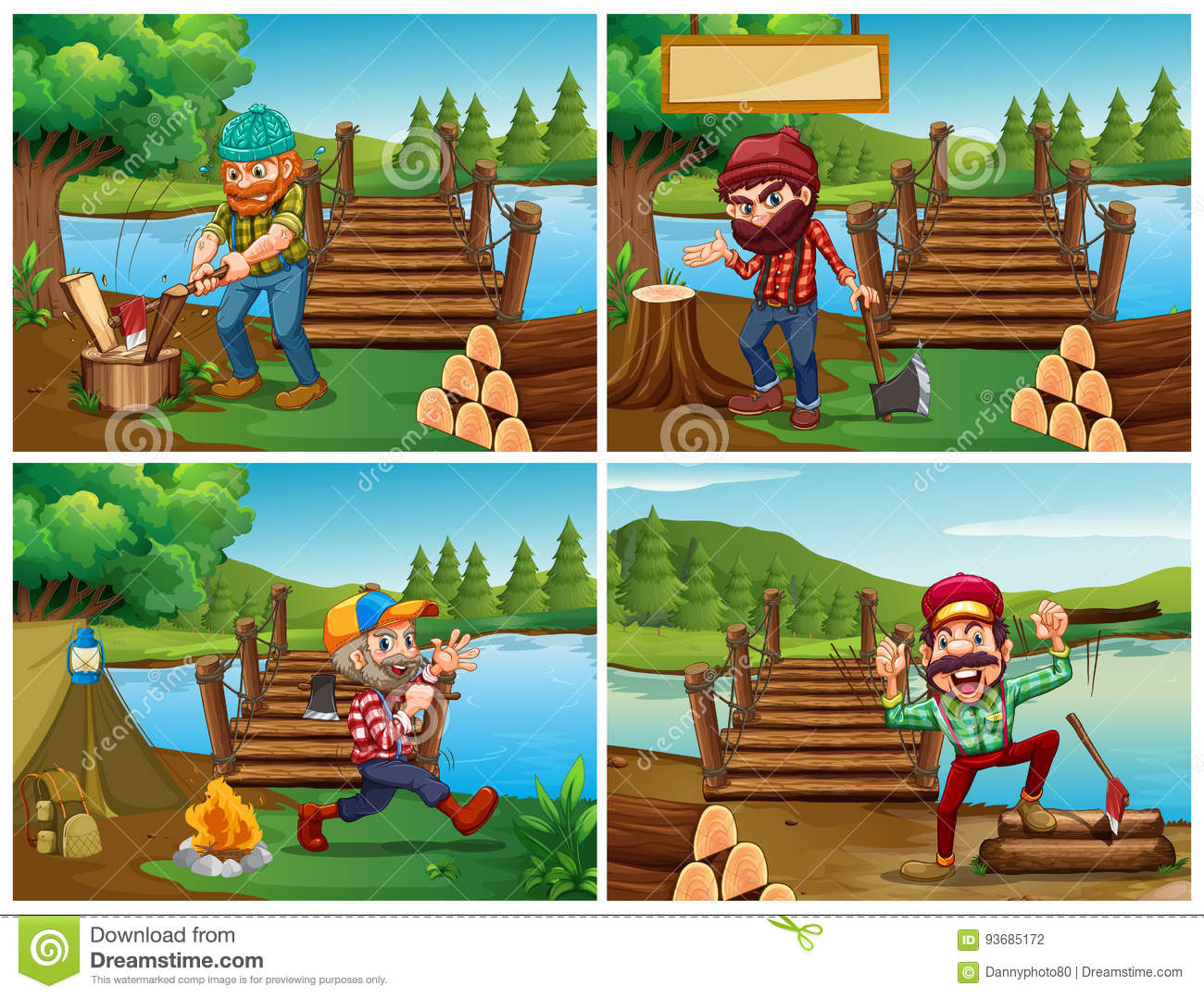 Four scenes with lumberjack and woods