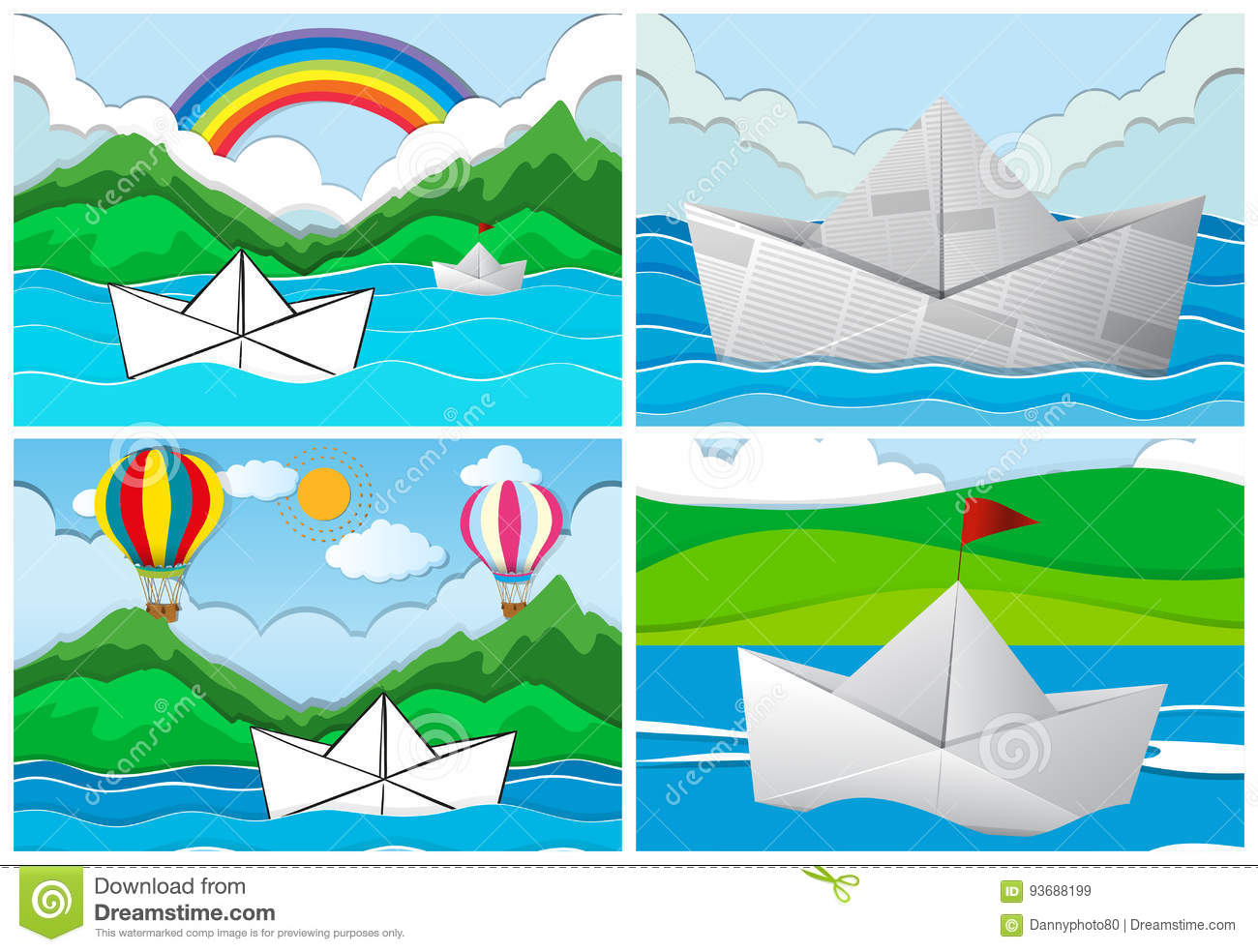 Four scenes with paper boats at sea