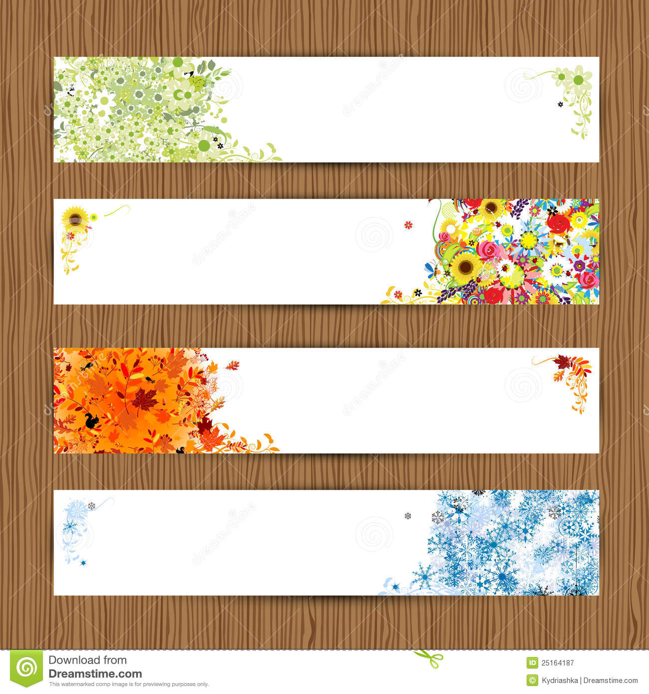 Four season frames stock vector image of empty forest for 4 seasons decoration