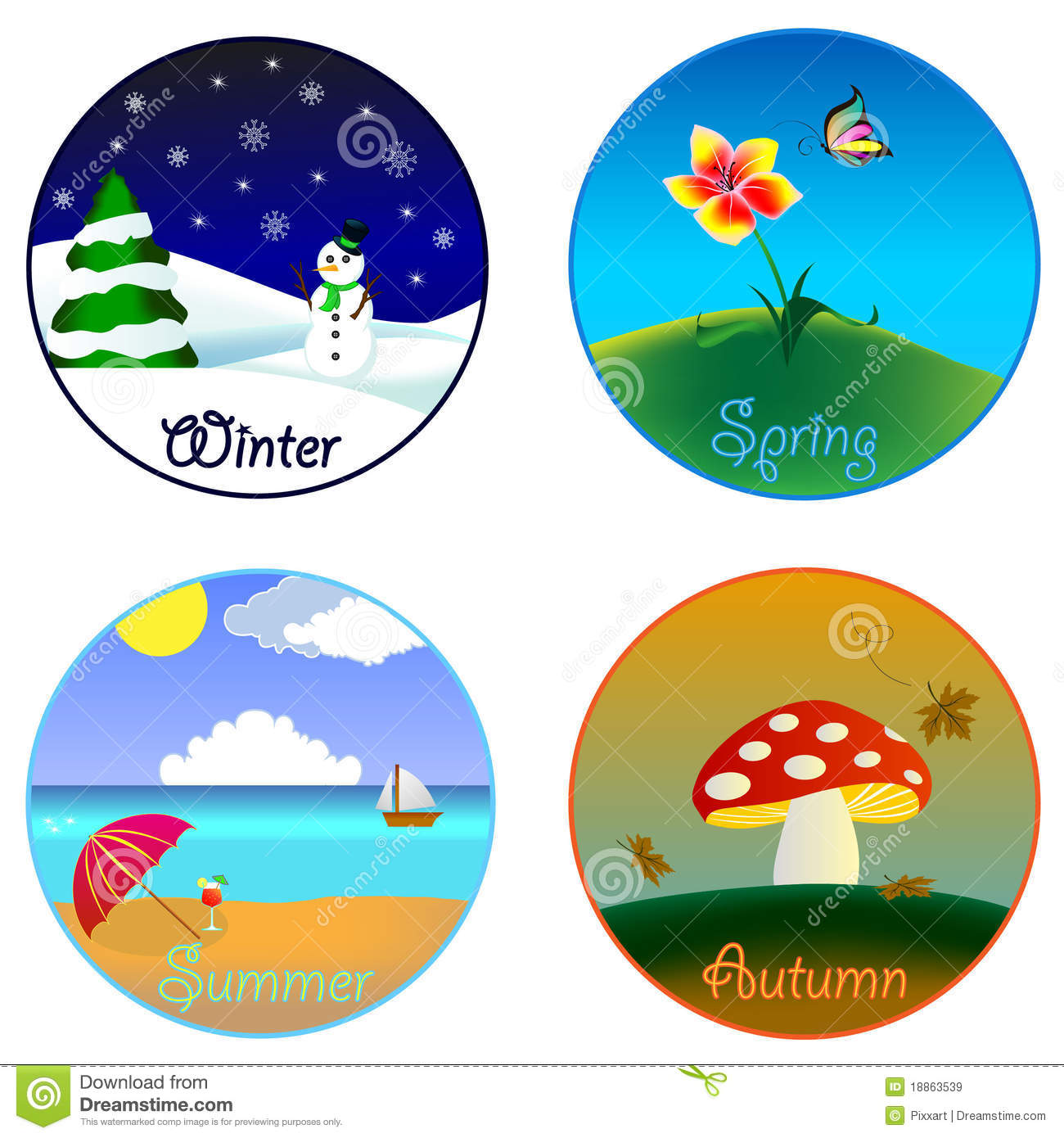 The four seasons stock vector. Illustration of beach ...