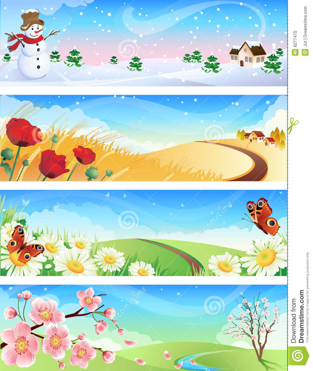 Four seasons stock vector illustration of illustration for Les jardins 4 saisons