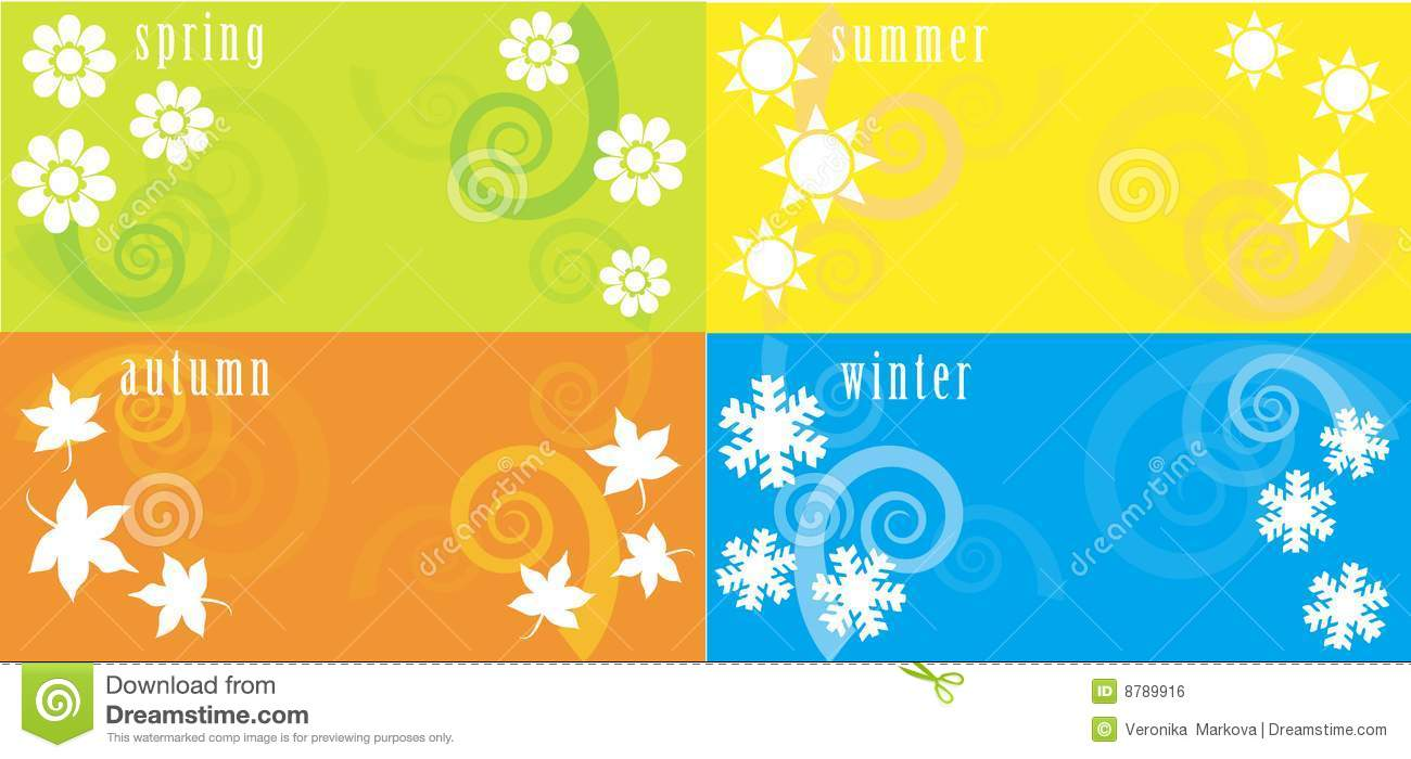 Four seasons stock vector image of design color flower for 4 seasons decoration