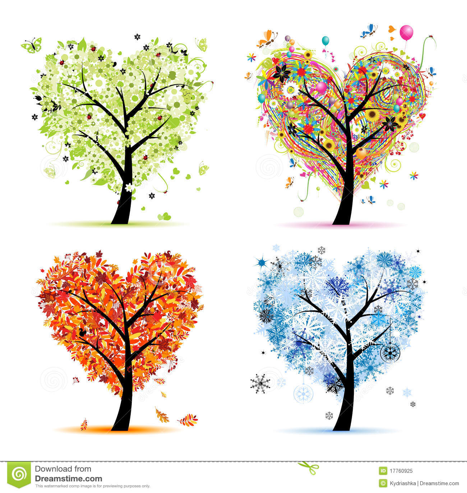 Four seasons. Art tree heart shape